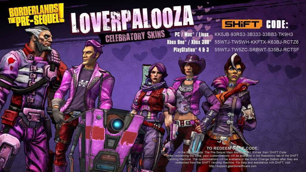 Borderlands The Pre-Sequel Valentine's Day Skins