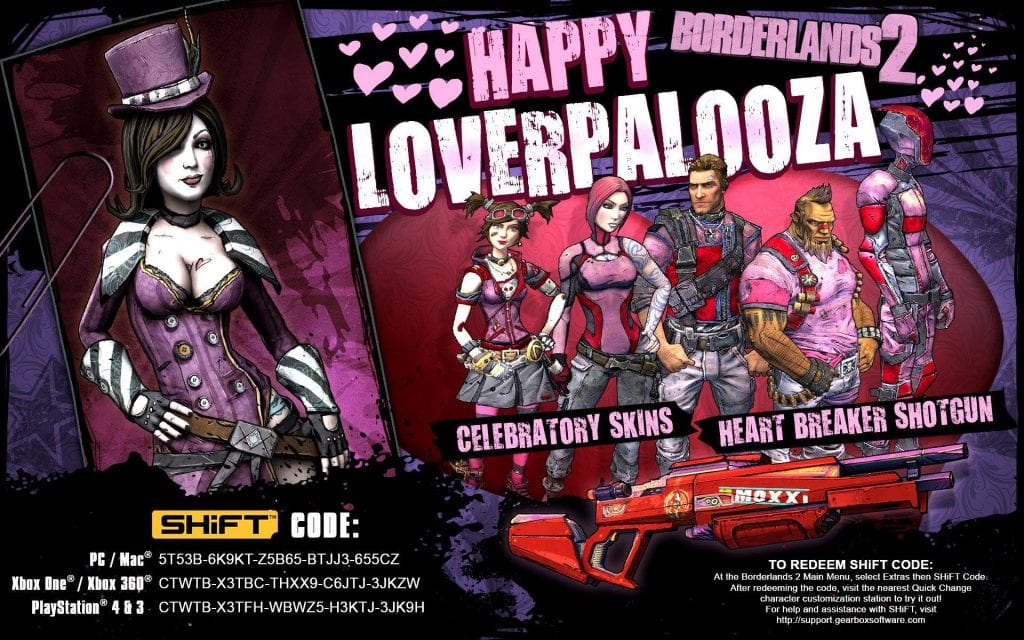 Borderlands 2 Valentine's Day Skins
