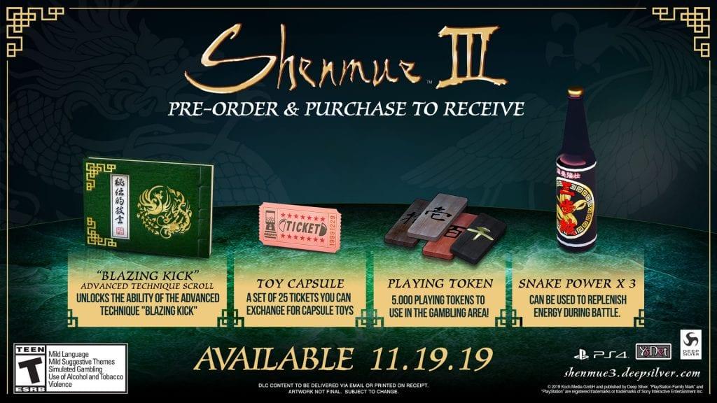 Shenmue 3 Pre Order